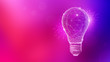 canvas print picture - Polygon idea light bulb on blurred gradient multicolored background. Global cryptocurrency blockchain business banner concept. Lamp symbolize inspiration, innovation, invention, effective thinking.