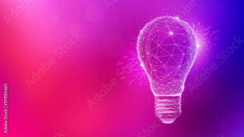 Fotografie, Obraz Polygon idea light bulb on blurred gradient multicolored background