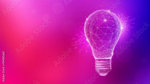 Fototapeta Polygon idea light bulb on blurred gradient multicolored background