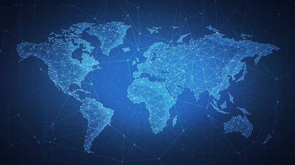 Polygon world map with blockchain technology peer to peer network on blue background. Network, p2p business, e-commerce, bitcoin trading and global cryptocurrency blockchain business banner concept.