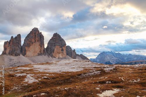 Garden Poster Natural Park Tre Cime di Lavaredo in beautiful surroundings at autumn in the Dolomites (Drei Zinnen)