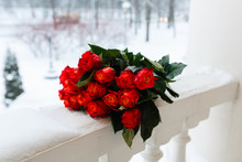 Bouquet Of Roses In The Snow O...