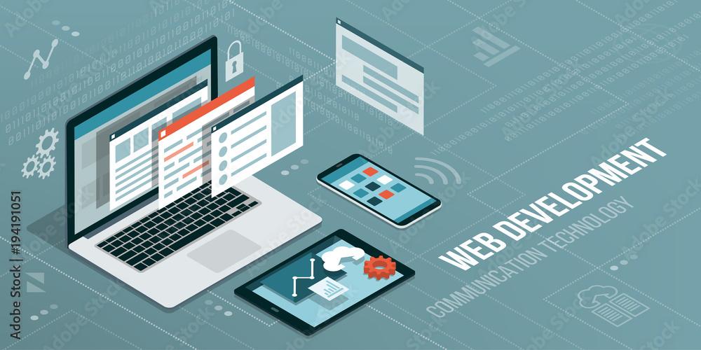 Fototapety, obrazy: Web development and coding