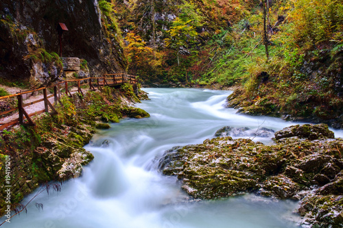 Foto op Canvas Rivier Wonderful Vintgar Gorge canyon at curlicue river and beautiful autumn colors and close to Lake Bled