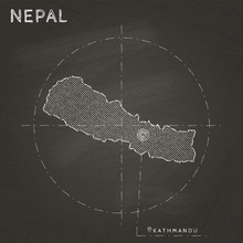 Nepal Chalk Map With Capital M...