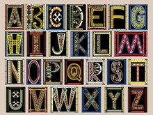 Highly Ornate Gold Illuminated Medieval Vector Font Alphabet Kit
