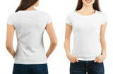 Fototapeta Kuchnia - Front and back views of young woman in stylish t-shirt on white background. Mockup for design