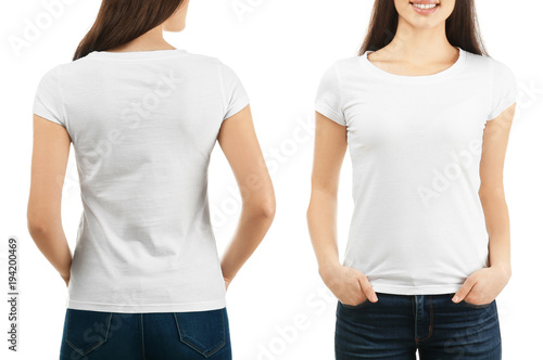 Obraz Front and back views of young woman in stylish t-shirt on white background. Mockup for design - fototapety do salonu