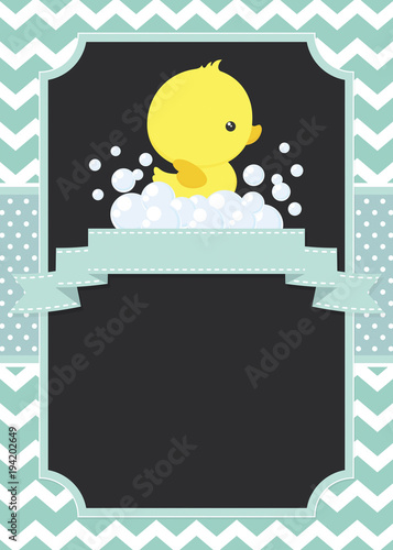 Valokuva  cute baby shower card with little baby rubber duck on chevron pattern and polka