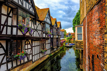 Medieval Houses And River Stour In Canterbury Old Town, Kent, England