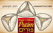 Traditional Hamantaschen In Hand Drawn Style Ready For Purim Celebration, Vector Illustration