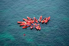 Group Of Kayaks In Formation I...
