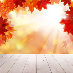 Naklejka na ściany i meble Autumn Leaves, Empty Grunge Wooden Board and Sullight on Fall Background