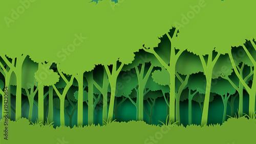Naklejka premium Eko zielony natura las tło szablon. Plantacja lasów z ekologią i ochroną środowiska kreatywny pomysł koncepcja papier styl sztuki. Ilustracja wektorowa.