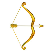 Golden Bow And Arrow Isolated ...