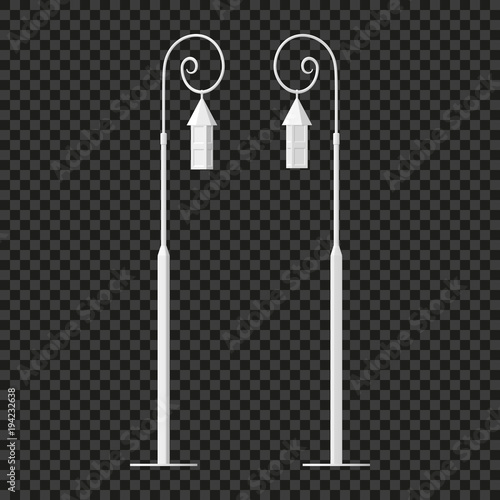 Street light. Road lamp. Element of the equipment on a transparent background. Vector illustration. It is easy to change the color of objects.