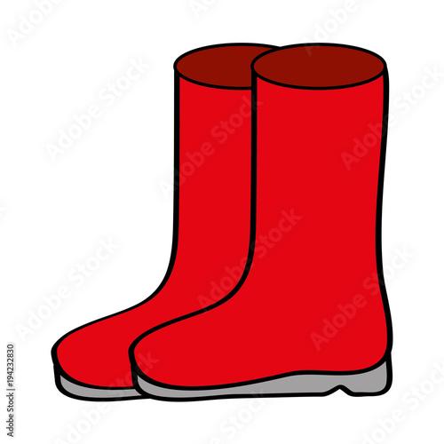 Pair Rubber Boots Clothes Winter Season Fashion Vector