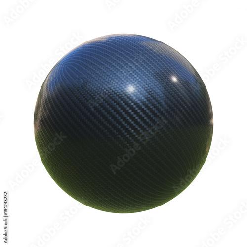 Carbon fiber sphere isolated on white background 3d rendering © koya979