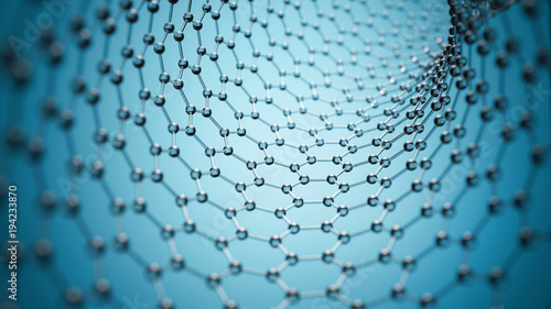 fototapeta na ścianę Graphene molecular grid, graphene tube structure concept, hexagonal geometric form, nanotechnology background 3d rendering