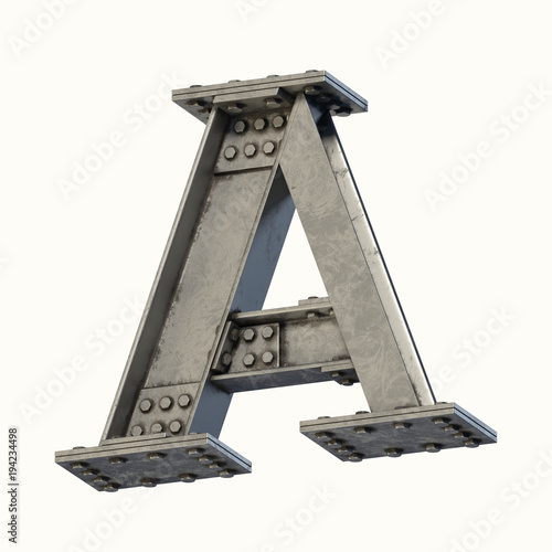 Steel beam font 3d rendering letter A Wall mural