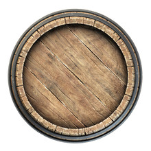 Wooden Barrel Top View Isolate...