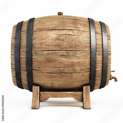 Wooden barrel isolated on white background, wine, beer, alcohol drink storage 3d Tapéta, Fotótapéta