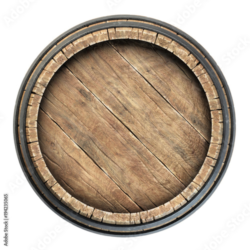 Stampa su Tela Wooden barrel top view isolated on white background 3d illustration
