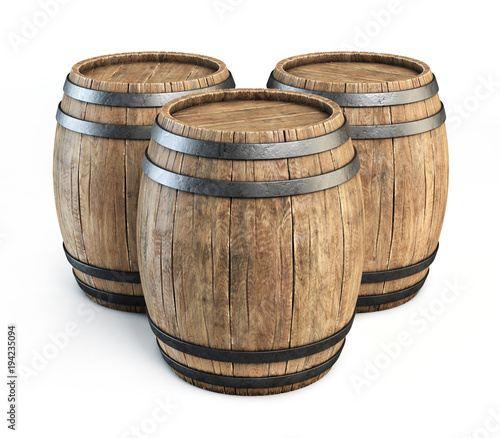 Wooden barrels isolated on white background 3d illustration Wallpaper Mural