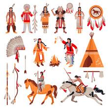 American Indians Decorative Icons Set