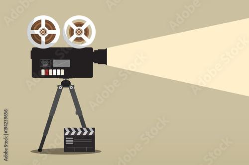 Retro Movie Camera on Tripod with Film Clap
