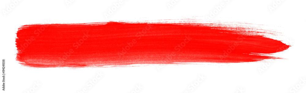 Fototapety, obrazy: Pinselstreifen mit roter Farbe