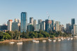 aerial view of Brisbane skyline with skyscrapers and Brisbane river, Australia