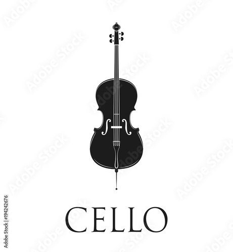 Canvas Cello. Isolated On White Background.