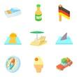 Trip experience icons set, cartoon style