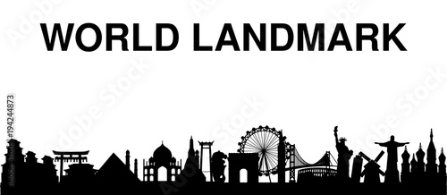 Foto  black silhouette world landmark white background