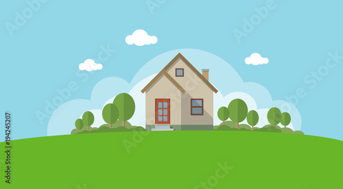 Photo  Vector Illustration of a House and Garden
