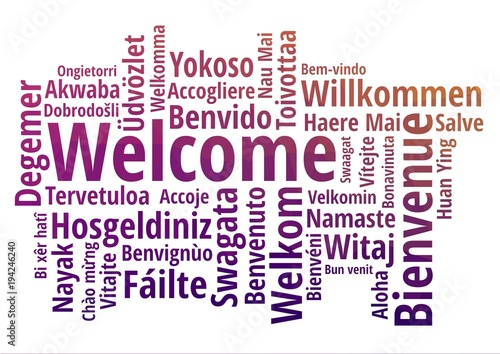 WELCOME word cloud in different languages, concept purple low poly background Fotobehang