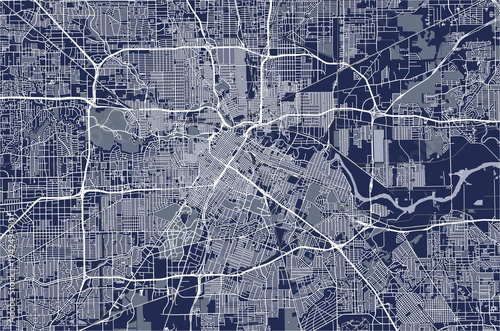 Fotografie, Obraz vector map of the city of Houston, U.S. state of Texas, USA