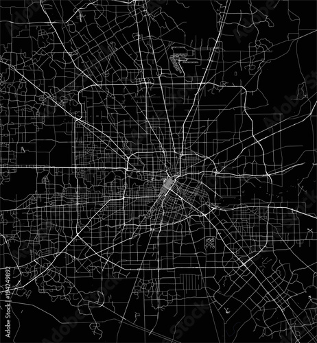 Obraz na plátně vector map of the city of Houston, U.S. state of Texas, USA