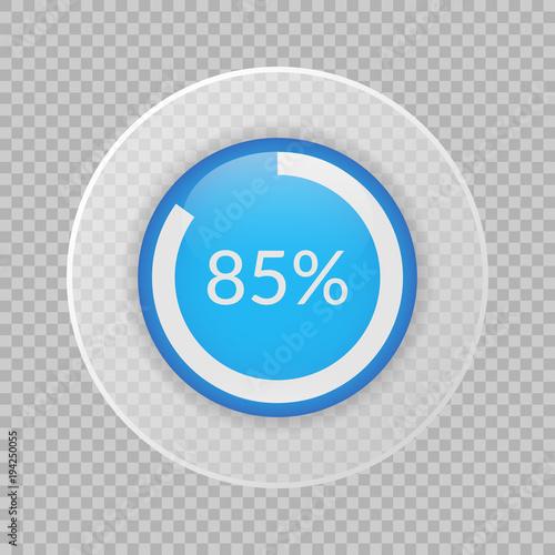 Fotografia  85 percent pie chart on transparent background
