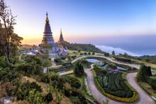 Landmark Two Pagoda Noppamethanedol & Noppapol Phumsiri On Top Doi Inthanon Moutain, The National Park At Chiang Mai, Thailand.