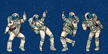 Disco Party Astronauts Dancing...