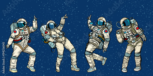 Cuadros en Lienzo Disco party astronauts dancing men and women