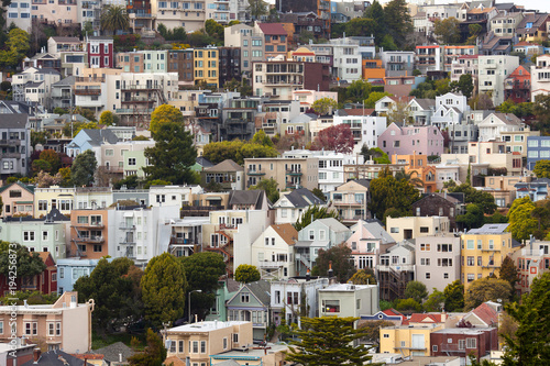 Fotobehang San Francisco Houses on Twin Peaks Neighborhood, San Francisco, California, USA