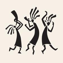 Stylized Musicians Dancing Figures. Primitive Art. Vector Illustration.