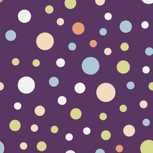 Colorful Polka Dots Seamless Pattern On Bright 11 Background. Dazzling Classic Colorful Polka Dots Textile Pattern. Seamless Scattered Confetti Fall Chaotic Decor. Abstract Vector Illustration.
