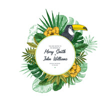 Tropical Retro Wedding Invitation. Bird Vintage Design Template. Vector Illustration