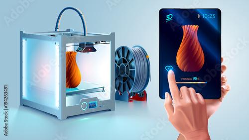 Fotografie, Obraz  White 3d printer with filament spool