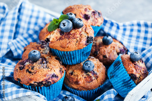 Fresh homemade delicious blueberry muffins Fototapete