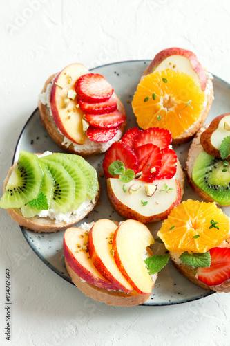 Foto op Aluminium Vruchten Fruit sandwiches with ricotta cheese